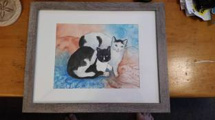 Memorial watercolor painting. Framed by customer!