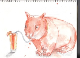 Wombat Enjoying a Screwdriver
