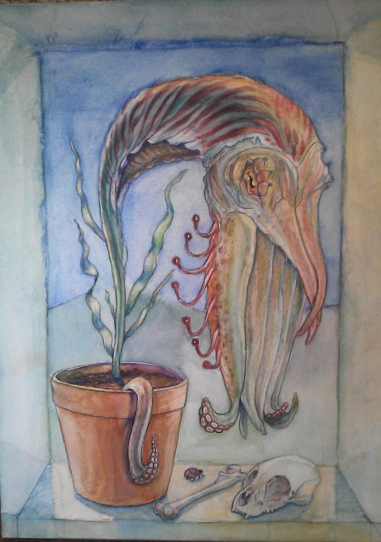 cuttlefish, botanical, tentacles, cephalopod