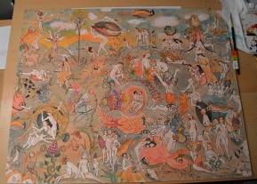 "Interpretation of ""Garden of Earthly Delights"", a wedding gift"
