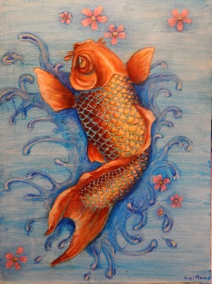 """Tattoo Koi"", 18x24"" acrylic on stretched canvas, sides painted. $145. Shipping not included."