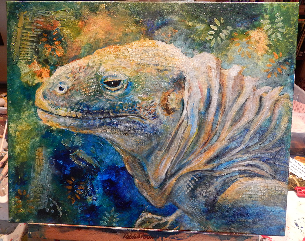 iguana, lizard, reptile, wildlife, mixed media