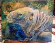 iguana, lizard, reptile, wildlife, mixed media