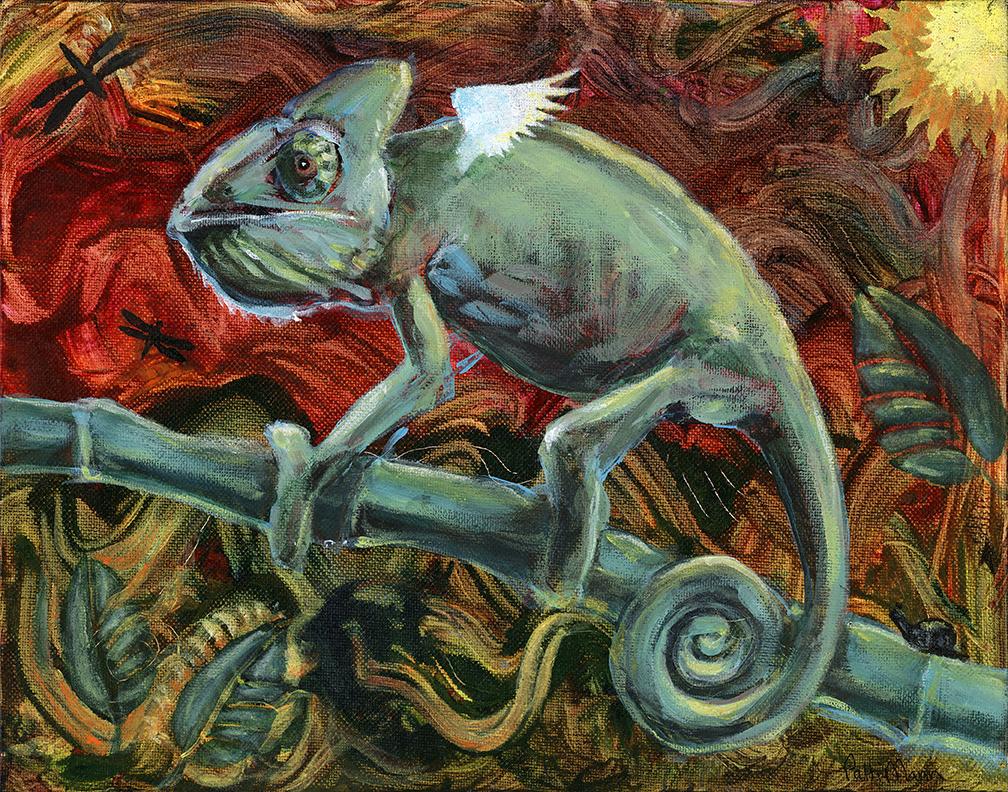 fantasy, chameleon, reptile art