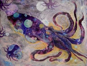 cuttlefish, cephalopod, tentacles, ocean, seascape