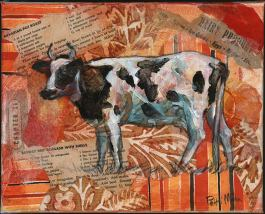 cow art, bovine art, farm, collage