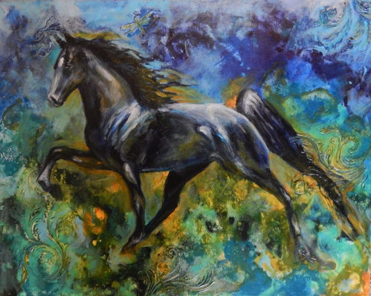 tennessee walking horse, equine art, mixed media