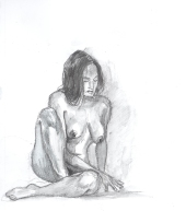 """Seated Nude"", small graphite on paper in 8x10"" framed. Retail price: $35. SALE PRICE: $24.50."