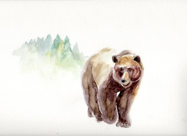 "©Patti Mann ""Bear"", watercolor on 9x12"" paper, $25. Free non-expedited domestic shipping!"