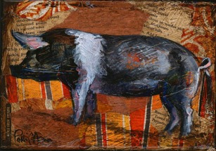 """""""B&W Pig"""", 7x5"""" mixed media collage & acrylic on stretched canvas, $25 each, or both pigs for $40. Shipping not included."""