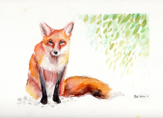"""Fox"", watercolor on 9x12"" paper, $45"