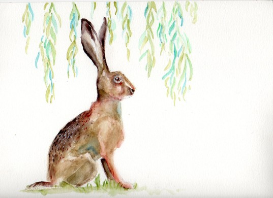 """©Patti Mann """"Hare"""", watercolor on 9x12"""" paper, $25. Free non-expedited domestic shipping!"""