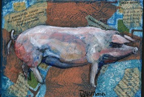 """""""Pink Pig"""", 7x5"""" mixed media collage & acrylic on stretched canvas, $25 each, or both pigs for $40. Shipping not included."""