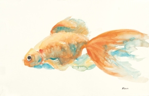 """""""Orange is the New Orange"""", an 18x12"""" watercolor on paper. $55 each. Free non-expedited shipping!"""