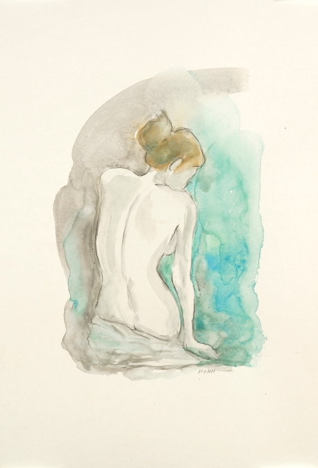 """Seated Grace I"", watercolor and graphite on 18x12"" paper. $55 or $80 for the set of two, non-expedited domestic shipping included. *Fun fact: This piece is appearing in some Kohls stores. You could own the original!*"