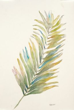 """""""Frond II"""", 12x18"""" watercolor on paper, $45, non-expedited domestic shipping included"""