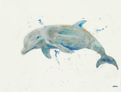 """""""Flipper"""", 24x18"""" watercolor on paper, $65, non-expedited domestic shipping included"""