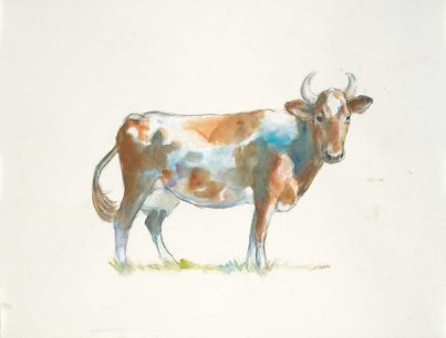 """""""Daisy"""", 24x18"""" watercolor on paper, $65, non-expedited domestic shipping included"""