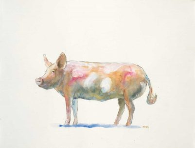 """""""Pink Piggie"""", 24x18"""" watercolor on paper, $65, non-expedited domestic shipping included"""